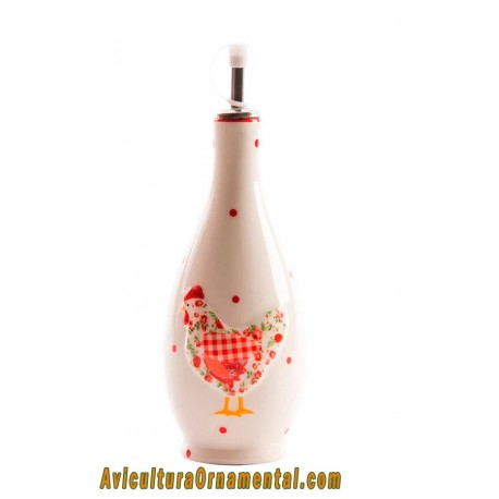 Aceitera vinagrera de cerámica Gallina Roja