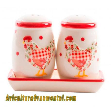 Salero y pimentero cerámica Gallina Roja