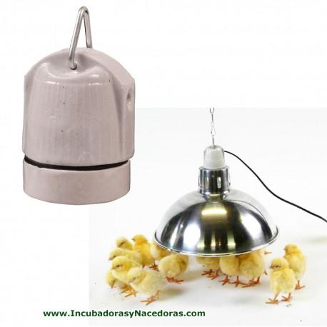 Portalámpara cerámica (E27) con gancho para pollitos